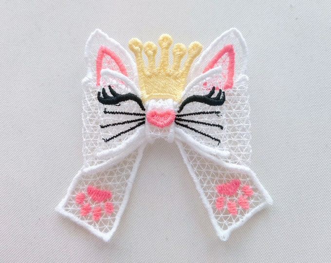 Little kitty crown Double layer lace bow Little Princess - FSL, Free standing lace, curl Bow - machine embroidery design 5x7