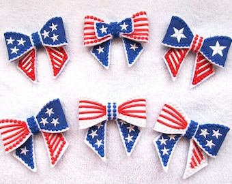 Independence Day theme - Last minute gift designs - In the hoop project Bows 3D - machine embroidery ITH design -  for hoop 4x4 and 5x7