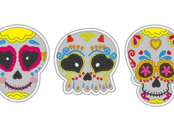 Day of the Dead multicolored Skulls SET, Calavera, Sugar Skulls - embroidery applique designs INSTANT DOWNLOAD