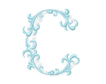 Frozen snow Christmas Individual letter C garden flag monogram snowflakes Font machine embroidery design 3, 4, 5, 6, 7, 8 in