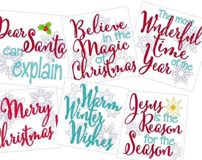 Merry Christmas quotes  - machine embroidery designs - 4x4, Santa, Believe, magic, wonderful, Warm winter wishes, Jesus reason designs