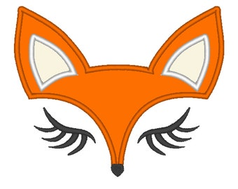 Fox Face - machine embroidery applique designs for hoops 4x4, 5x7 INSTANT DOWNLOAD - cute nice fox embroidery
