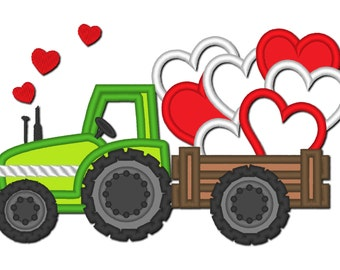 Valentine day tractor love hearts   - machine embroidery designs - multiple sizes, for hoops 4x4, 5x7 and 6x10