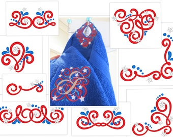 Towel topper Stripes and stars patriotic 4th of July  in the hoop project, monogram set , borders and corners machine embroidery 4x4  5x7