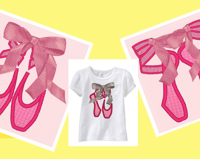 Ballerina Shoes set  - 3 types - machine embroidery applique designs and satin stitch designs -  for hoop 4x4, 5x7 INSTANT DOWNLOAD