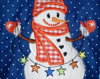 Snowmen set - machine embroidery applique designs - 4x4, 5x7
