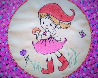 Little gnome girl machine embroidery design sketch outline, quick light stitch machine embroidery designs for hoop 4x4, 5x7 INSTANT DOWNLOAD