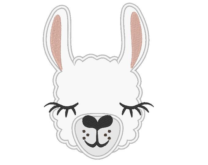 Llama or alpaca head with pretty eyes applique machine embroidery designs applique embroidery llama face drama llama design