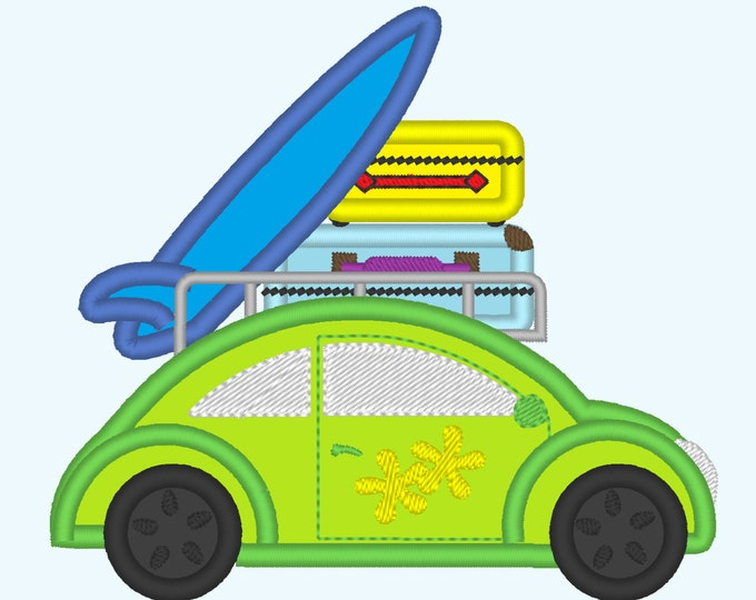 Car bug for summer holidays - machine embroidery applique designs, for hoops 4x4, 5x7 and 6x10  INSTANT DOWNLOAD
