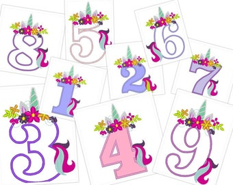 Unicorn numbers with flowers crown Unicorn Tail Birthday numbers, single Unicorn number birthday outfit, Unicorn rainbow 4x4 5x7 all numbers