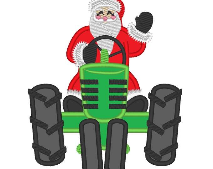 Santa on Christmas tractor front - machine embroidery design - multiple sizes, for hoops 4x4, 5x7 and 6x10  INSTANT DOWNLOAD