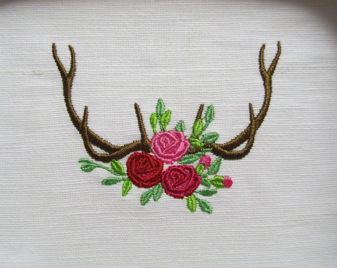 Antler Silhouette, Antlers with flowers - Machine embroidery designs - 4, 5, 6 and 7 inches  INSTANT DOWNLOAD