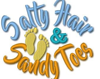 Salty hair and Sandy toes machine embroidery designs assorted sizes 4x4 and 5x7 - hat design summer beach sea  embroidery