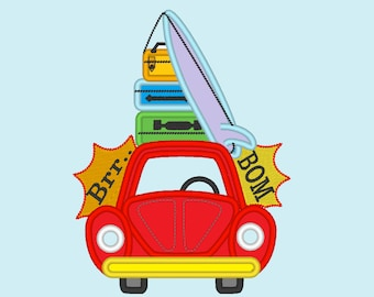 Summer holidays car bug and stack of travel suitcases - machine embroidery applique designs, for hoop 4x4, 5x7 and 6x10  INSTANT DOWNLOAD