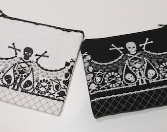 Purse, zipped bag block embroidery, Pouch, Block Machine Embroidery designs to make awesome bag with skulls INSTANT DOWNLOAD 5x7 6x10 8x12