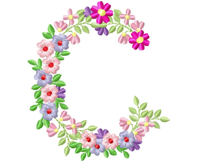 Country Floral letter C garden flag monogram flowers flower flowered Font machine embroidery designs monogram C only 3,5, 4, 5, 6, 7, 8 in