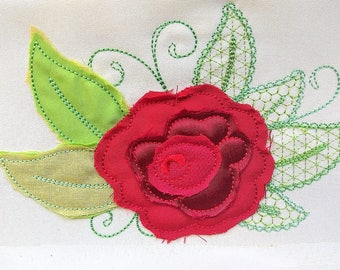 Shabby chic rose flower applique, rose, simply rose, roses applique design, raggedy edge rose applique embroidery INSTANT DOWNLOAD