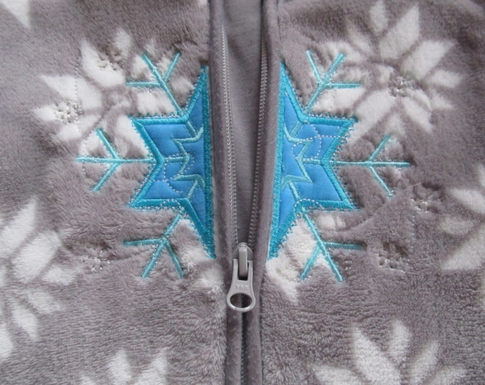 Frozen snowflake winter queen split applique split design for ziper hoodie embroidery - Machine embroidery applique 4, 5, 6 and 7 inches