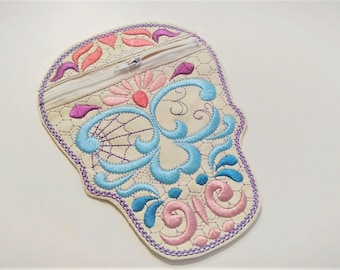 Skull zipper Bag, Purse, Pouch, Envelope ITH, Pocket, ITH In The Hoop Machine Embroidery designs In-The-Hoop 5x7 and 6x10