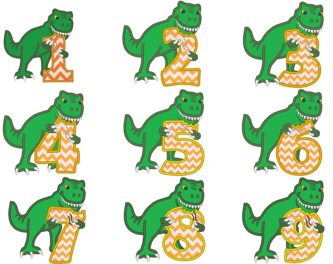 T-rex dinosaur Birthday numbers WHOLE set  1- 9 machine embroidery Birthday outfit designs - for hoops 4x4, 5x7, 6x10  INSTANT DOWNLOAD