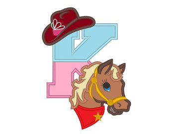 Cowgirl hat & pony head custom letter, only one any letter number to choose from the set - machine embroidery applique 1 design  5x7