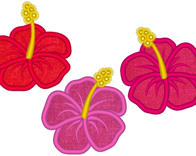 Hibiscus flowers set - 3 types - Hawaii summer flower embroidery applique designs - hibiscus flowers applique