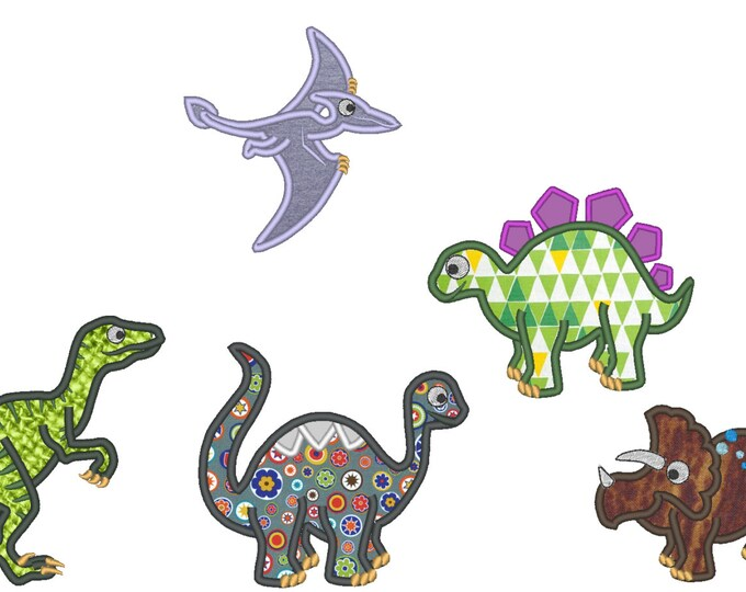 Single Dinosaurs 5 types - applique designs - multiple sizes,  for hoop 4x4, 5x7 and 6x10 INSTANT DOWNLOAD