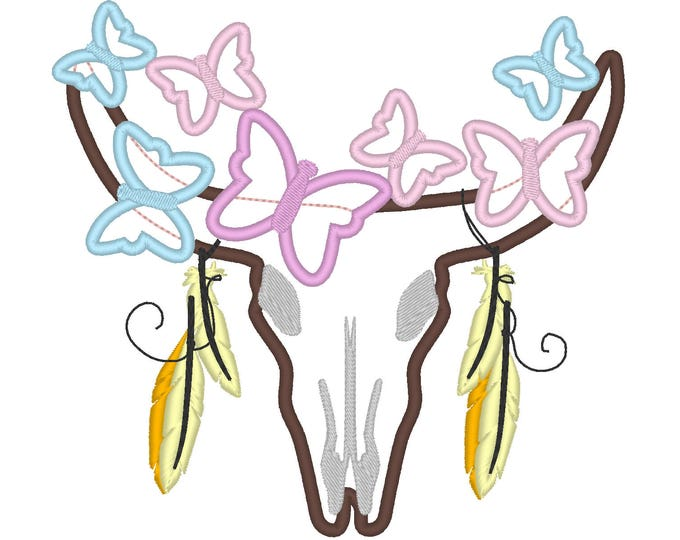 Cow buck bull skull, cow head skull with butterflies and feathers machine embroidery applique designs for hoop 4x4 5x7 6x10 INSTANT DOWNLOAD