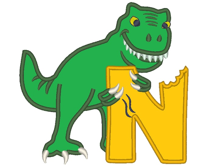 T-rex dinosaur Birthday only one LETTER N machine embroidery Birthday outfit designs - for hoops 4x4, 5x7, 6x10  INSTANT DOWNLOAD