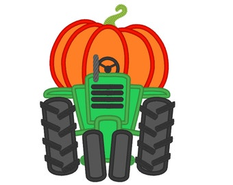 Happy fall Pumpkin tractor  front - machine embroidery design - assorted sizes, tractor applique embroidery design