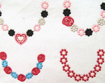 4 types of cute necklaces, machine embroidery designs for hoop 4x4 and 5x7 INSTANT DOWNLOAD