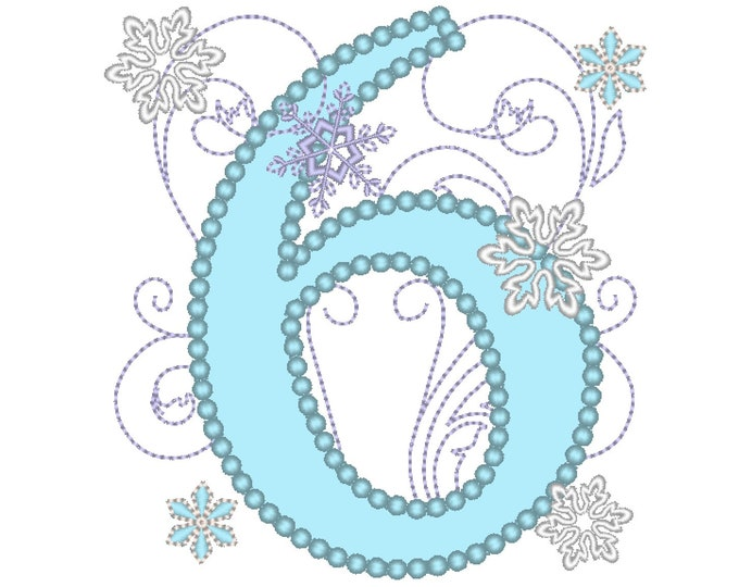 Frozen Swirls Birthday Number SIX 6 with wide pearl stitch snowflake machine embroidery applique design for hoops 4x4, 5x7 INSTANT DOWNLOAD