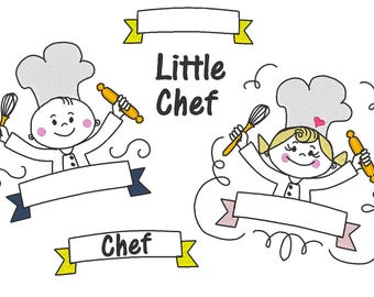 Little Chef cook, boy and girl, banners and wording collection machine embroidery designs 4x4 and 5x7  sketch outline, stick figures designs