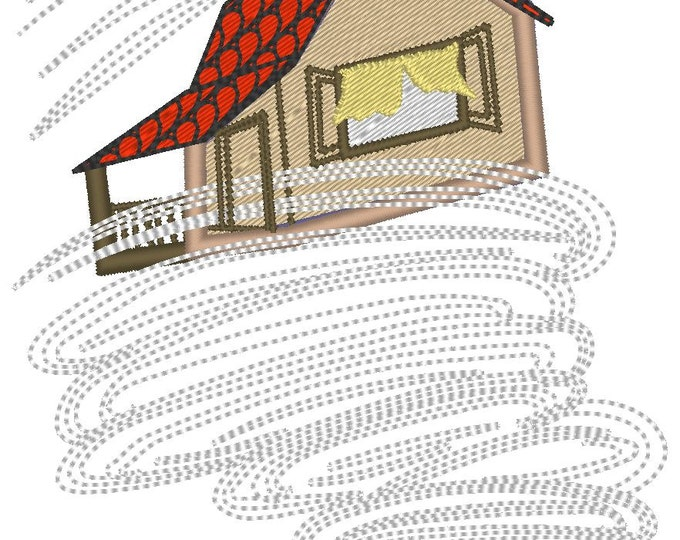 Dorothy house in tornado - The Wonderful Wizard of Oz  - machine embroidery designs - 5x7, 6x10 INSTANT DOWNLOAD
