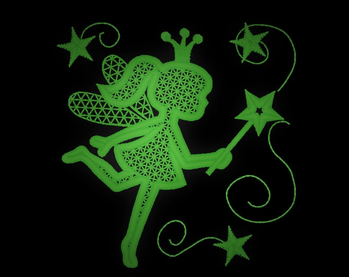 Mini Glow Tooth Fairy sparkle / Glow in the dark special designed machine embroidery / sizes 3, 4 and 5 inches  / file  INSTANT DOWNLOAD