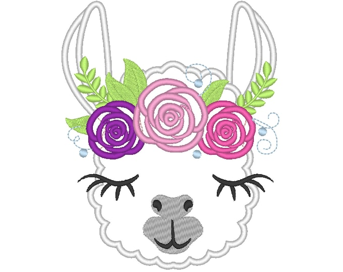 Pretty eyes llama or alpaca head with shabby chick roses crown applique machine embroidery designs applique embroidery llama face