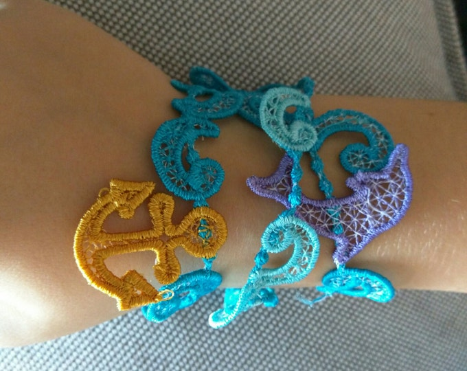 Lace anchor bracelet FSL, Free standing jewelry embroidery design  4x4  water soluble stabilizer EMBROIDERY