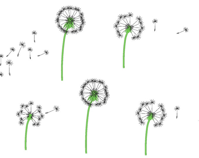 Dandelion single flowers set - machine embroidery designs, for hoops 4x4 and 5x7 INSTANT DOWNLOAD
