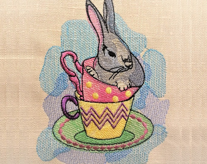 Bunny in teacups classy watercolor Easter embroidery, urban little baby, quick stitch outline, bean, simply awesome bunny embroidery designs