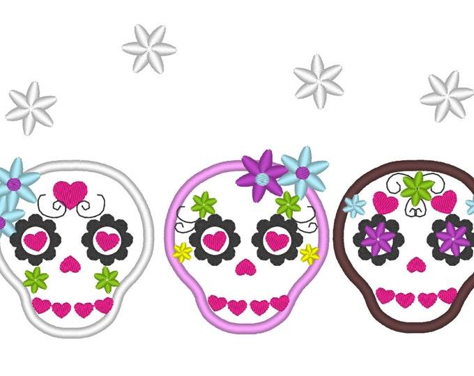 3 mini Sugar Skulls, Day of the Dead Sugar Skull embroidery applique, Dia de los Muertos, cuties - embroidery designs 4x4  multiple sizes