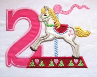 Cute Carousel Lovely Birthday Numbers set and 2 types! machine embroidery applique designs 4x4, 5x7