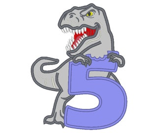 T-rex dinosaur Birthday number FIVE 5 machine embroidery Birtday outfit designs - assorted sizes, for hoops 5x7, 6x10  INSTANT DOWNLOAD