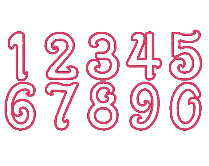 INSTANT DOWNLOAD  Girly with wide satin stitch Numbers, machine embroidery applique designs - 2, 3, 4, 5 and 6 inches