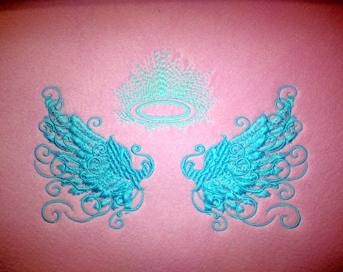 Angel wings/ Glow in the dark special designed machine embroidery / sizes 4x4 and 5x7 / file  INSTANT DOWNLOAD