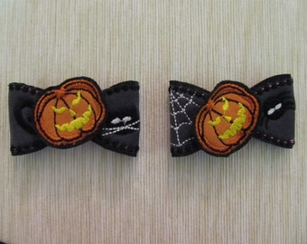 Halloween Bows - 2 types - In the hoop project ITH machine embroidery design only for hoop 5x7 scary pumpkin Jack o lantern bow tie hairclip