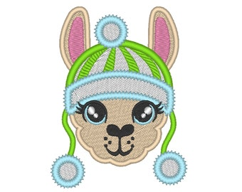 Fill and applique embroidery of Llama or alpaca head with winter Santa Christmas hat machine embroidery designs face drama llama design