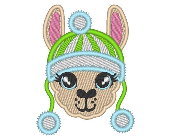 Fill and applique embroidery of Llama or alpaca head with winter Santa Christmas hat machine embroidery designs face drama llama design