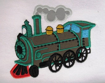 Real steam train - machine embroidery applique designs - multiple sizes 4x4, 5x7 INSTANT DOWNLOAD