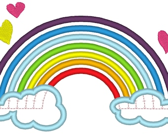 Rainbow abslutely awesome machine embroidery applique designs, size 5, 6and 7 inches RAINBOW INSTANT DOWNLOAD