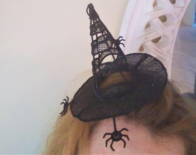 Absolutely awesome witch Lace Hat with little spiders FSL, Free standing embroidery design  5x7  Used with water soluble stabilizer